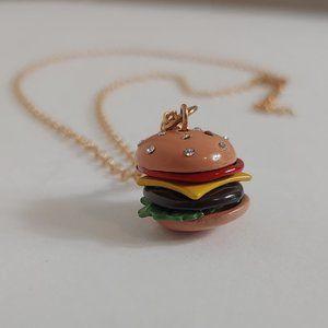 NWOT Modcloth Cheeseburger Diamond Charm Necklace